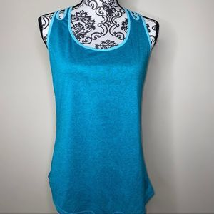 Danskin Teal Workout Semi Fitted Tank Top NWOT *